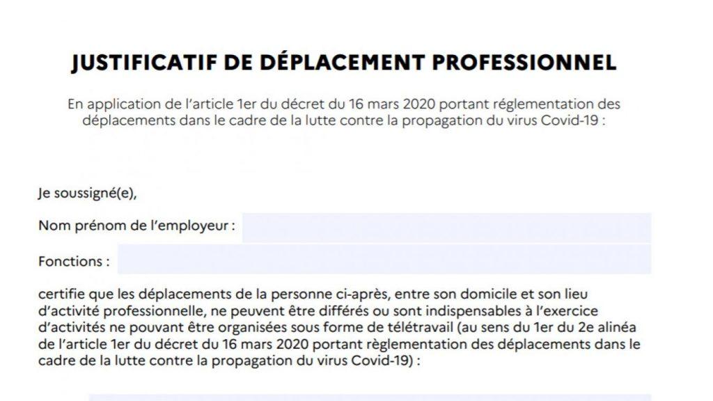 document attestion employeur covid